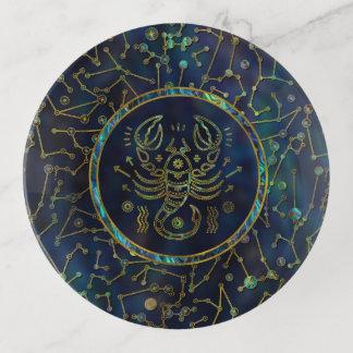 Vide-poche Ormeau d'or de zodiaque de Scorpion sur la