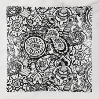 Vide-poche Paisley floral blanc noir mignon