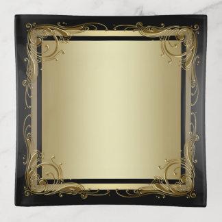 Vide-poche Plat élégant de bibelot de noir et d'or