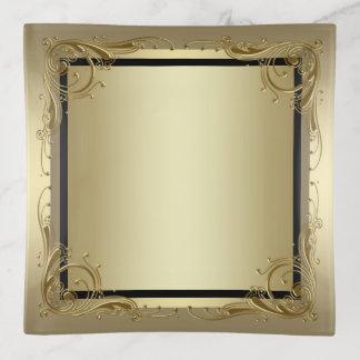 Vide-poche Plat noir élégant de bibelot d'or