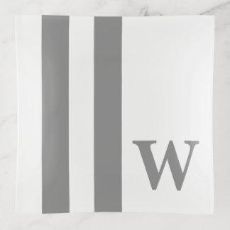 Vide-poche Rayures grises de colombe sur le monogramme blanc