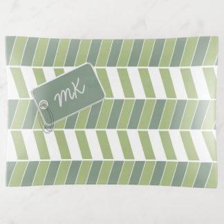 Vide-poche Vert en arête de poisson ID150 de monogramme de