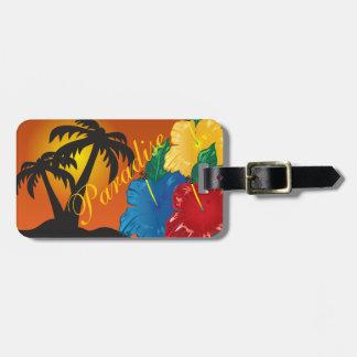 Vie dans un paradis tropical étiquette à bagage