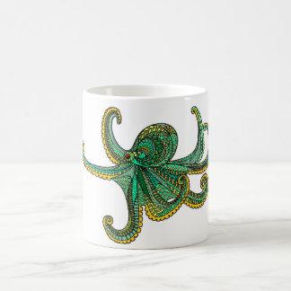 Vie marine turquoise jaune verte d'océan d'or de mug