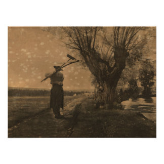 Vieil agriculteur pionnier poster