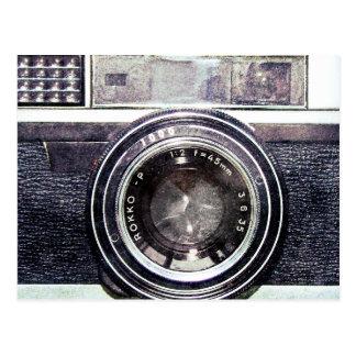 Vieil appareil-photo noir carte postale