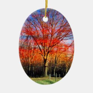Vieil arbre sage ornement ovale en céramique