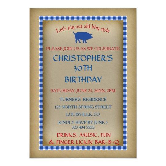 Vieil invitation bleu de papier vintage de BBQ