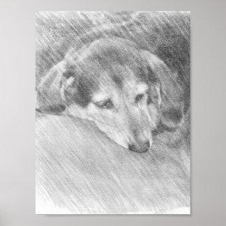 Vieille affiche affectueuse de croquis de chien