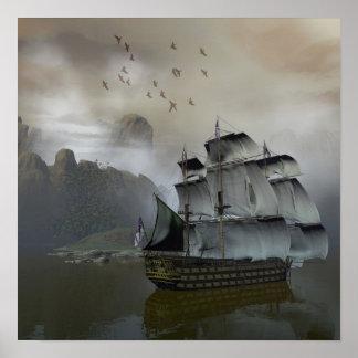 Vieille affiche de bateau de voile