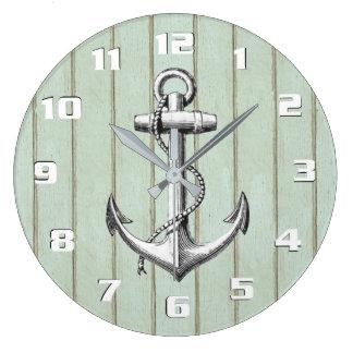 Vieille ancre vintage nautique rustique en bois grande horloge ronde