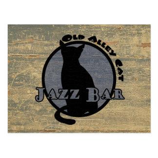 Vieille barre de jazz de chat d'allée carte postale