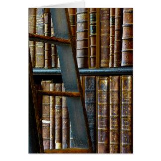 Vieille bibliothèque, vieux livres cartes de vœux