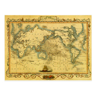 Vieille carte antique du monde cartes postales