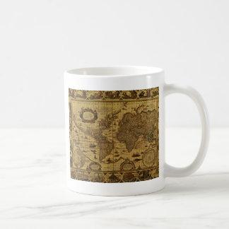 Vieille carte antique du monde mug blanc