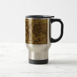 Vieille carte antique du monde mug de voyage en acier inoxydable