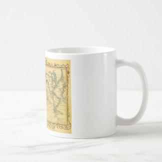 Vieille carte antique du monde tasse à café