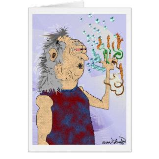 VIEILLE carte d'anniversaire HIPPIE de TYPE