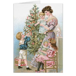 Vieille carte d'arbre de Noël de mode