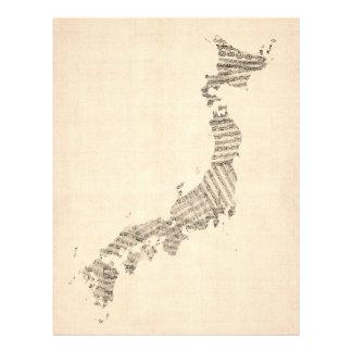 Vieille carte de musique de feuille du Japon Prospectus 21,6 Cm X 24,94 Cm