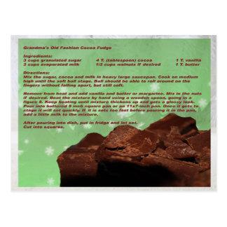 Vieille carte de recette de fondant de cacao de la