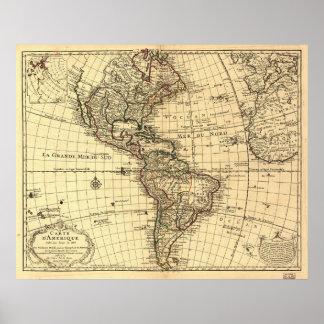 Vieille carte d'hémisphère de l'ouest. Français 17 Poster