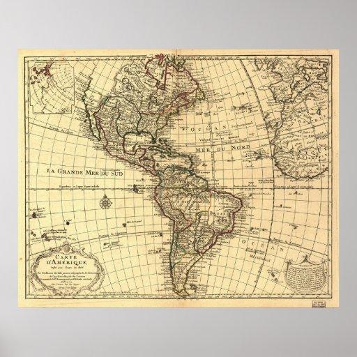 Vieille carte d'hémisphère de l'ouest. Français 17 Posters