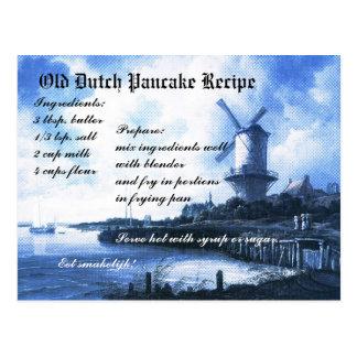 Vieille carte néerlandaise de recette de crêpe