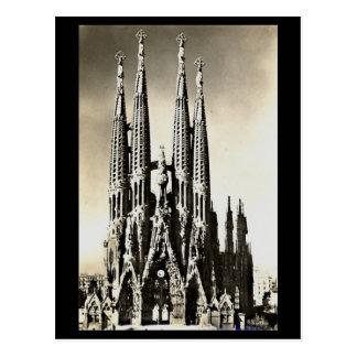 Vieille carte postale - Barcelone, Sagrada Familia