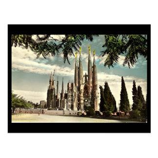 Vieille carte postale, Barcelone, Sagrada Familia