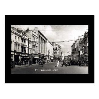 Vieille carte postale, Cardiff, rue de la Reine