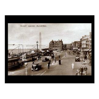 Vieille carte postale, carré de Talbot, Blackpool Cartes Postales