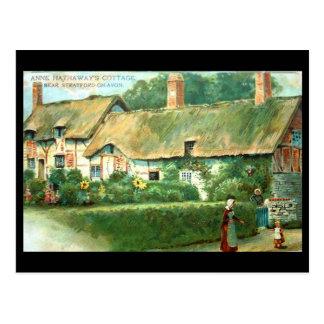 Vieille carte postale, cottage d'Anne Hathaway,