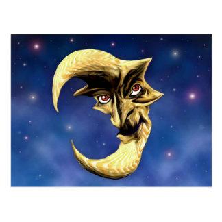 Vieille carte postale de lune de diable