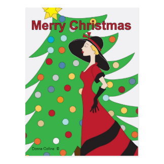 Vieille carte postale de Noël de fille de mode