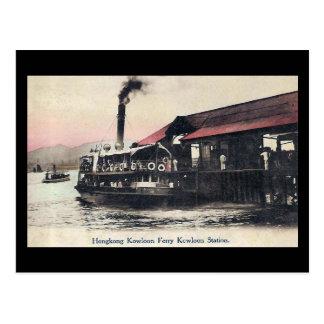 Vieille carte postale - ferry de Kowloon, Hong