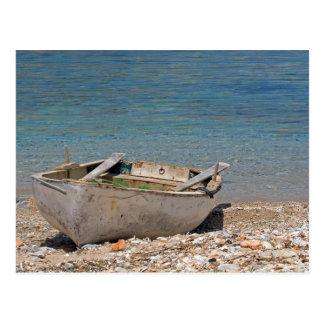 Vieille carte postale grecque de bateau