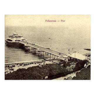 Vieille carte postale - le pilier, Folkestone