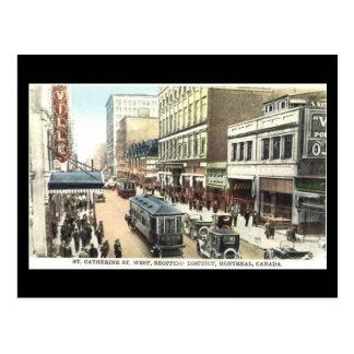 Vieille carte postale, Montréal, rue de St Catheri