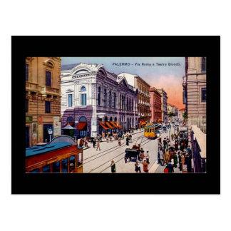 Vieille carte postale, Palerme, Sicile