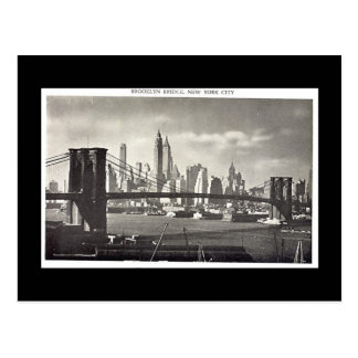 Vieille carte postale, pont de New York City,