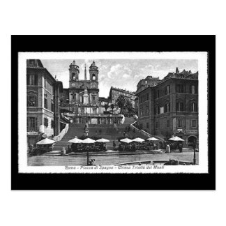 Vieille carte postale, Rome, Piazza di Spagna