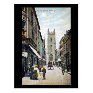 Vieille carte postale, rue d'église, Cardiff