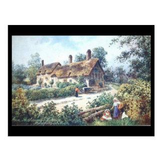 Vieille carte postale, Shottery, cottage d'Anne