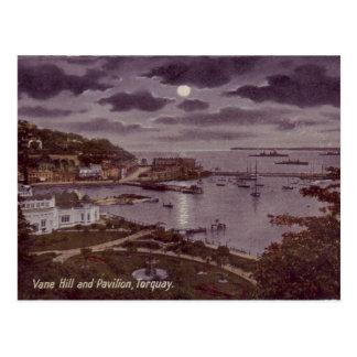 Vieille carte postale - Torquay par clair de lune