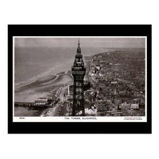 Vieille carte postale, tour de Blackpool