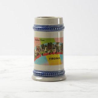 Vieille carte postale vintage de voyage de chope à bière