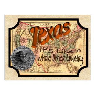 Vieille carte postale vintage du Texas