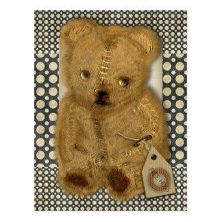 Vieille carte postale vintage triste d'ours de