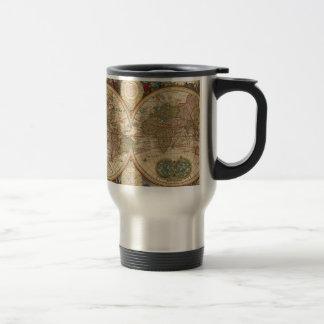 Vieille carte rare et historique antique du monde mug de voyage en acier inoxydable